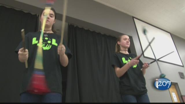 Seventh and eight grade students at Windham Christian Academy are learning how to juggle. Knives and fire included.
