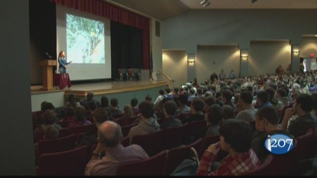 NASA astronaut Jessica Meir spent a day talking with students at Caribou High School where she graduated in 1995.
