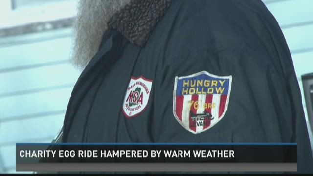 Riding with eggs in your snowsuit for a good cause