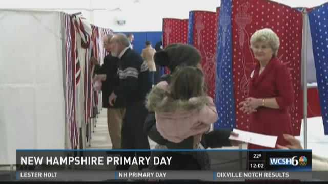 Voters cast their ballots in the New Hampshire�s first-in-the-nation primary