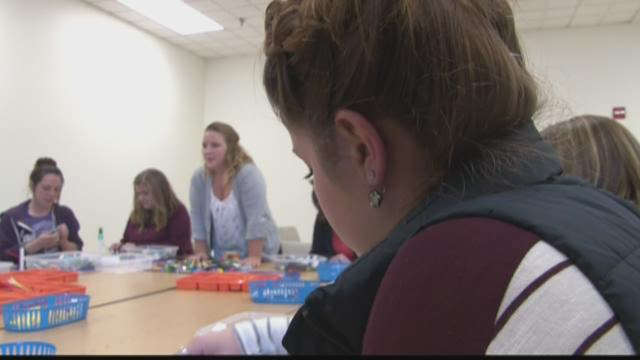 USM professor using Legos in the classroom