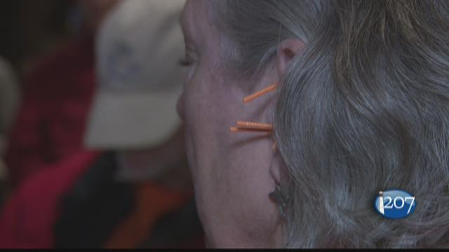 Once a week veterans and their families are offered free acupuncture at the Portland Veterans' Acupuncture Clinic on Noyes Street in Portland.